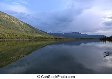Lake reflection BC - Lake reflection in British Columbia,...