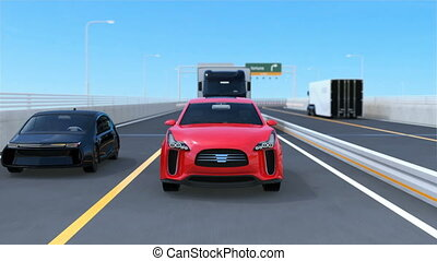 Self-driving cars on the bridge. 3D rendering animation.