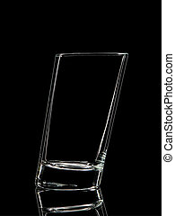 Silhouette of glass for shot on black background -...