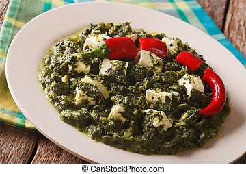 Indian Food Palak paneer spinach with cheese and pepper...
