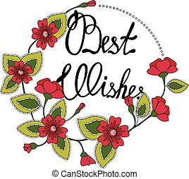 Best wishes lettering in floral frame - Vector best wishes...