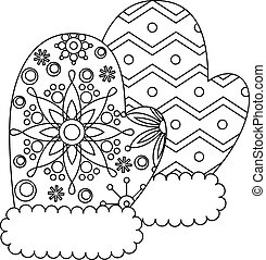 Mittens coloring - Vector mittens coloring