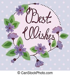 Best wishes lettering on floral card vintage - Vector best...