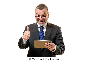Businessman signalling his success and approval - Happy...