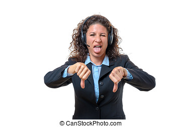 Young businesswoman signalling her disgust - Young...