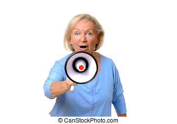 Excited elderly woman speaking into a megaphone conceptual...