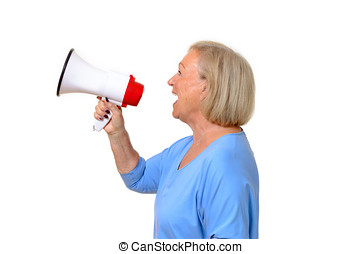 Profile of a senior woman using a megaphone to amplify her...