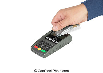 contactless payment via the terminal - hand with a...