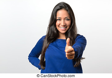 Enthusiastic motivated woman giving a thumb up
