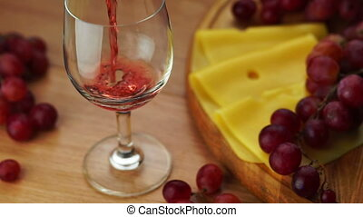 Pouring Red Wine Into Glass.