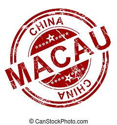 stämpel, röd,  Macau