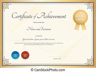 Certificate template for achievement, appreciation or completion in gold theme