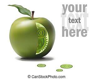 Business Eco Gear Idea Mechanism in Green Apple. GMO,...