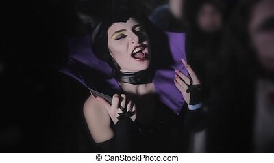 Girl in Halloween costume on Maleficent HD
