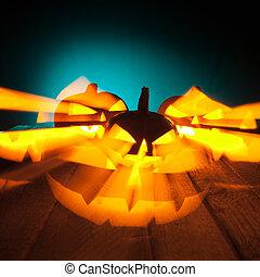 Halloween Pumpkins glowing in the dark