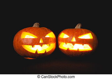 Halloween pumpkins smile and scary eyes for party night....