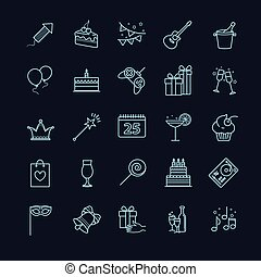 Thin line web icons - party, birthday, holidays