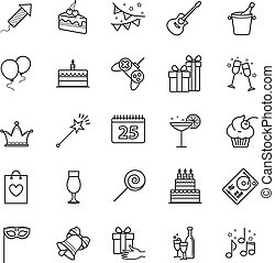 Outline web icons - party, birthday, holidays