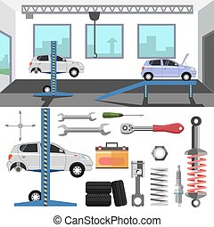 Tire service center of car. Vector set of repair tools and...