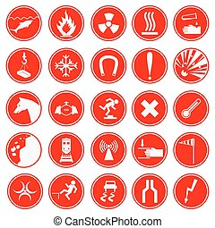 Set of warning and danger signs Caution icons Collection of...