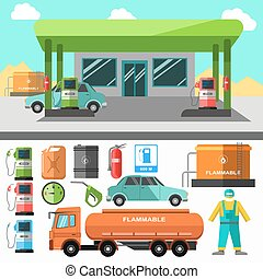 Gas station icons Refueling symbols - Gas station icons...
