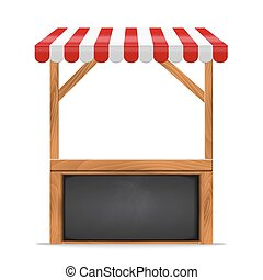 Street stall with red awning and wooden rack. - Street stall...