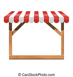 Store front with red awning and wooden rack.