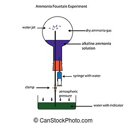 Ammonia fountain experiment showing solubility of ammonia...