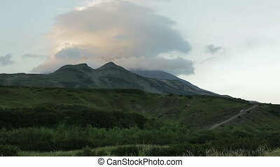 Movement of the clouds around the volcano Vilyuchinsky....