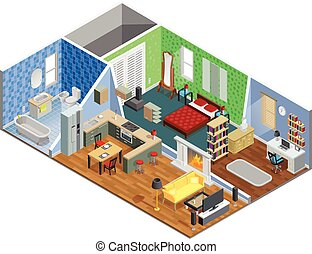 House Interior Design - House interior isometric design with...