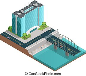 Modern City Isometric Composition - Isometric city...