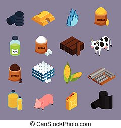 Commodity Icons Set - Commodity icons set with milk corn and...