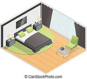 Bedroom Interior Isometric View Poster - Bedroom interior...