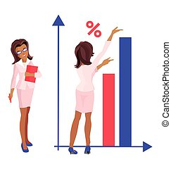 Womanin a business suit and glasses - Illustration...