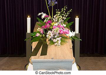 cercueil, dans, morgue