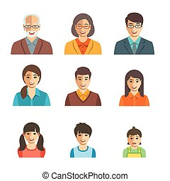 Asian family happy faces flat avatars set