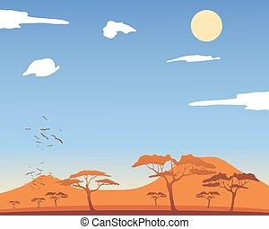 hot african landscape - a vector illustration in eps 10...