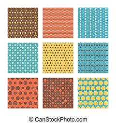 Vector seamless patterns, polka dot set