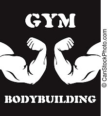Gym and bodybuilding emblem with biceps