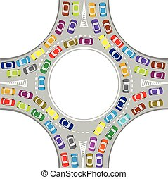 cars on the roundabout - traffic jam at the roundabout,...