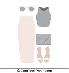 Set of vector clothes for women. Business-like style. Long...