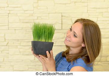 pianta, donna, verde, presa a terra, piccolo, Felice