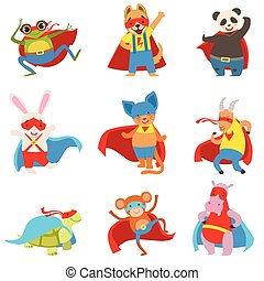 Animals Dressed As Superheroes With Capes And Masks Set....