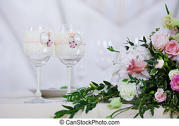 beautiful glasses of champagne and wine, wedding decor,...