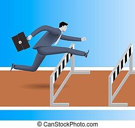 Over the obstacles business concept. Confident businessman...