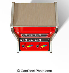 Vintage Arcade MAchine - A 3D render of a vintage red...