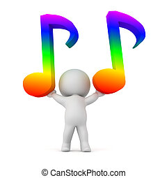3D Character Holding Up Two Rainbow Colored Musical Notes -...