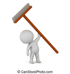 3D Character Holding Up a Large Broom - 3D charcter holding...