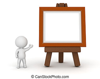 3D Character Showing Easel with Painting Frame