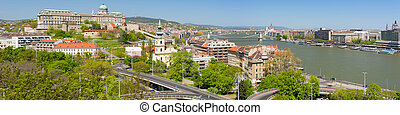 Panoramic view of Budapest in the morning - Panoramic view...